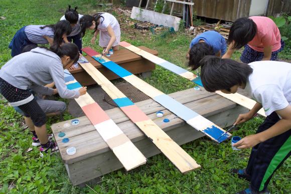 ツリーハウス屋根塗装